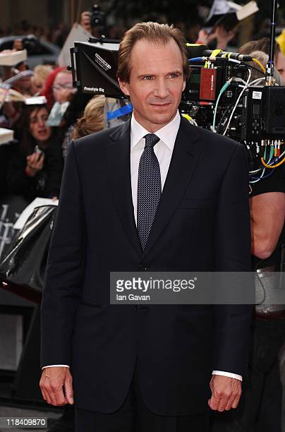 Actor Ralph Fiennes attends the World Premiere of Harry Potter and The Deathly Hallows Part 2 at Trafalgar Square on July 7 2011 in London England