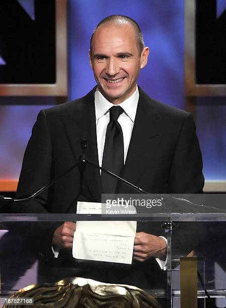 Actor Ralph Fiennes speaks onstage during the 2013 BAFTA LA Jaguar Britannia Awards presented by BBC America at The Beverly Hilton Hotel on November...