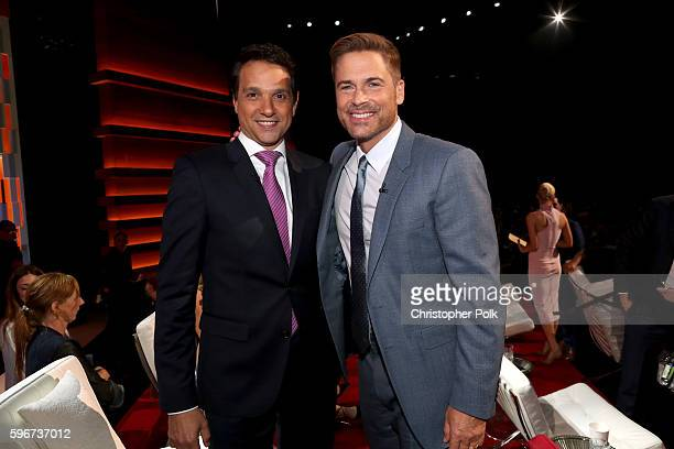 Actor Ralph Macchio and honoree Rob Lowe attend The Comedy Central Roast of Rob Lowe at Sony Studios on August 27 2016 in Los Angeles California The...