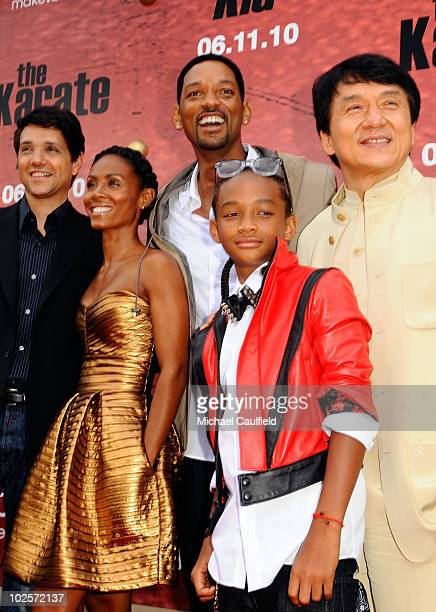 Actor Ralph Macchio poducers Jada Pinkett Smith and Will Smith and actors Jaden Smith and Jackie Chan arrive at The Karate Kid Los Angeles Premiere...