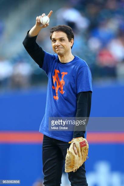 Actor Ralph Macchio throws out the ceremonial first pitch prior to the start of the game between the New York Mets and the Atlanta Braves at Citi...