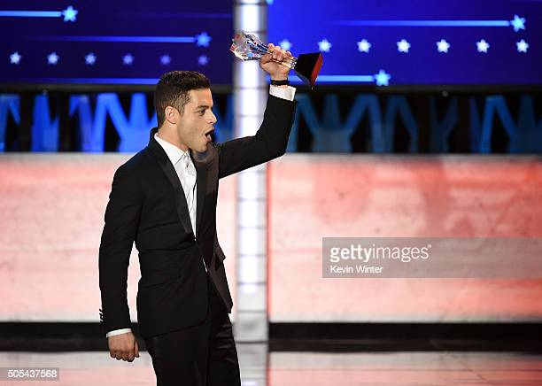 Actor Rami Malek accepts Best Actor in a Drama Series award for 'Mr Robot' onstage during the 21st Annual Critics' Choice Awards at Barker Hangar on...