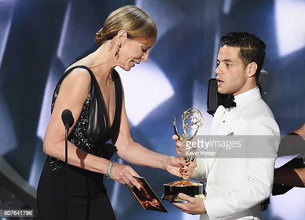 Actor Rami Malek accepts Outstanding Lead Actor in a Drama Series for 'Mr Robot' from actress Allison Janney onstage during the 68th Annual Primetime...