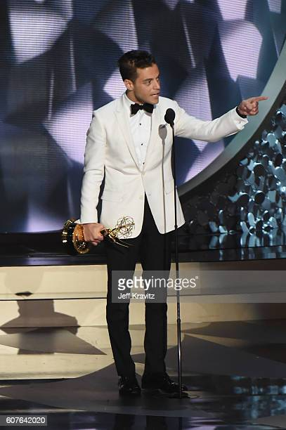 Actor Rami Malek accepts the award for Outstanding Lead Actor in a Drama Series for 'Mr. Robot' onstage during the 68th Annual Primetime Emmy Awards...