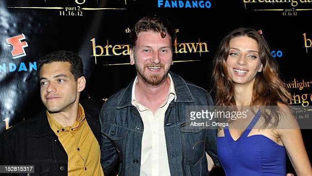 Actor Rami Malek actor Bill Tangradi and actress Angela Sarafyan arrive for Summit Entertainment's The Twilight Saga Breaking Dawn PART 2 VIP...