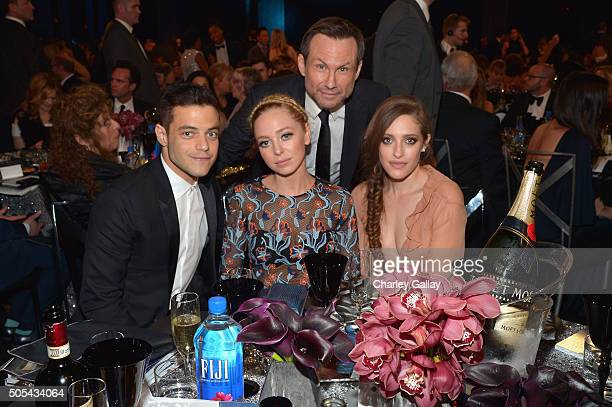 Actor Rami Malek actress Portia Doubleday actor Christian Slater and actress Carly Chaikin at the 21st Annual Critics' Choice Awards presented by...