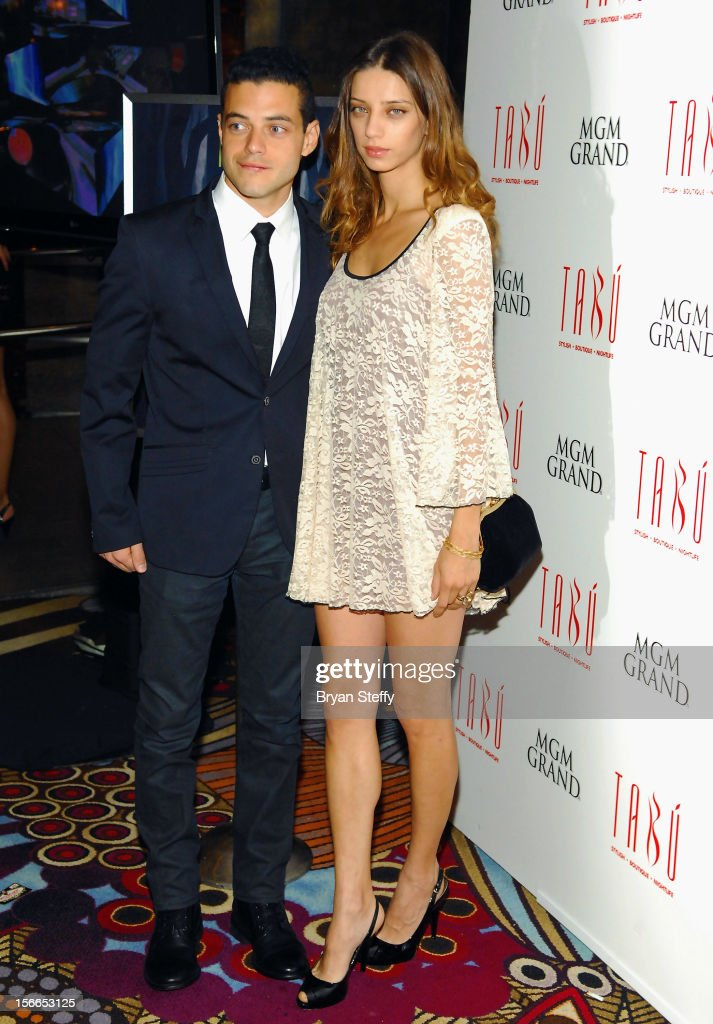 Actor Rami Malek (L) and actress Angela Sarafyn arrive at the Tabu Ultra Lounge at the MGM Grand Hotel/Casino on November 17, 2012 in Las Vegas, Nevada.