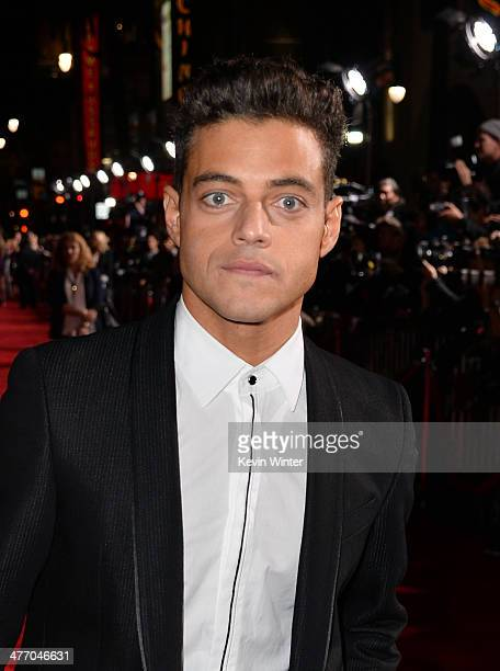 """Actor Rami Malek arrives at the premiere of DreamWorks Pictures' """"Need For Speed"""" at TCL Chinese Theatre on March 6, 2014 in Hollywood, California."""