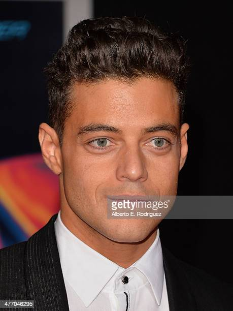 """Actor Rami Malek arrives for the premiere of DreamWorks Pictures' """"Need For Speed"""" at TCL Chinese Theatre on March 6, 2014 in Hollywood, California."""