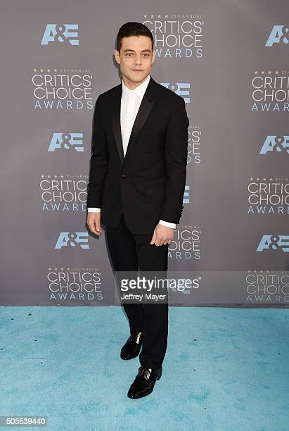 Actor Rami Malek attends the 21st Annual Critics' Choice Awards at Barker Hangar on January 17 2016 in Santa Monica California
