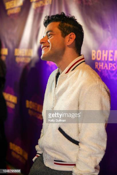 Actor Rami Malek is interviewed on the red carpet for a special screening of 'Bohemian Rhapsody' at the Castro Theatre on October 5 2018 in San...