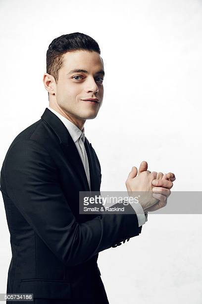 Actor Rami Malek poses for a portrait during the 21st Annual Critics' Choice Awards at Barker Hangar on January 17 2016 in Santa Monica California
