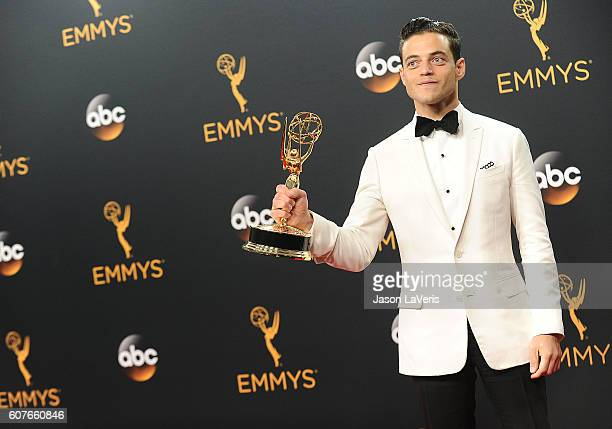 Actor Rami Malek poses in the press room at the 68th annual Primetime Emmy Awards at Microsoft Theater on September 18, 2016 in Los Angeles,...