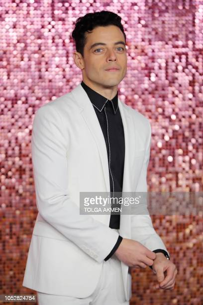 US actor Rami Malek poses on the red carpet arriving for the world premiere of the film 'Bohemian Rhapsody' at Wembley Arena in north London on...