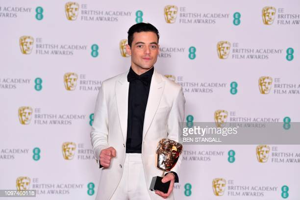 US actor Rami Malek poses with the award for a Leading Actor for his work on the film 'Bohemian Rhapsody' at the BAFTA British Academy Film Awards at...