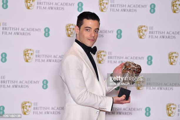 TOPSHOT US actor Rami Malek poses with the award for a Leading Actor for his work on the film 'Bohemian Rhapsody' at the BAFTA British Academy Film...