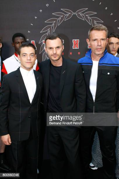 Actor Rami Malek Stylist Kris Van Assche and actor Lambert Wilson pose Backstage after the Dior Homme Menswear Spring/Summer 2018 show as part of...