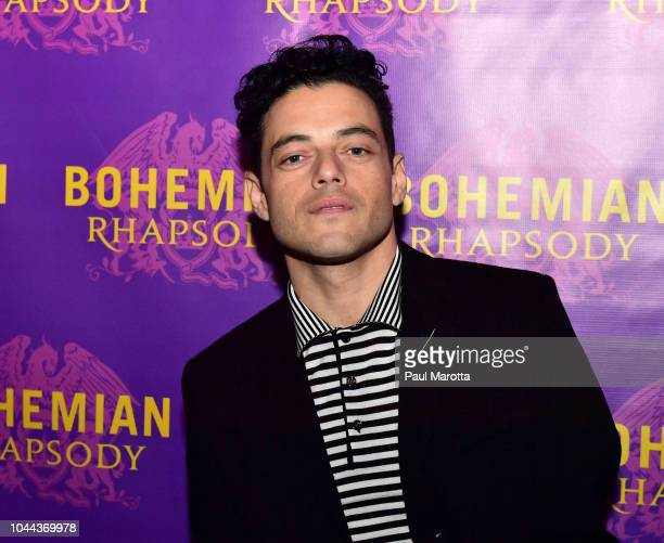 Actor Rami Malek who portrays Freddie Mercury walks the red carpet at the Boston red carpet screening of 'Bohemian Rhapsody' the film about the rock...
