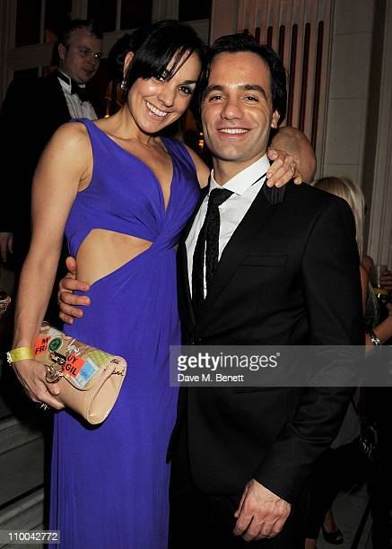 Actor Ramin Karimloo and Mandy Karimloo attend a postawards gala party following The Olivier Awards 2011 at The Waldorf Hilton Hotel on March 13 2011...