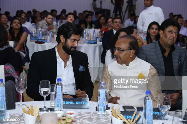 Actor Rana Daggubati and Sports Minister Vijay Goel during the Hindustan Times Game Changer Awards 2017 at Hotel Oberoi on May 24 2017 in Gurgaon...