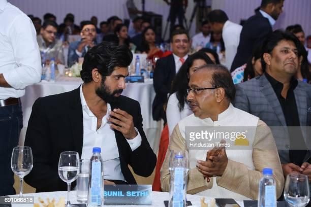 Actor Rana Daggubati and Sports Minister Vijay Goel during the Hindustan Times Game Changer Awards 2017 at Hotel Oberoi on May 24 2017 in Gurgaon...
