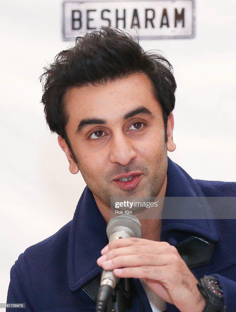 "Actor Ranbir Kapoor speaks during the ""Besharam"" press ..."