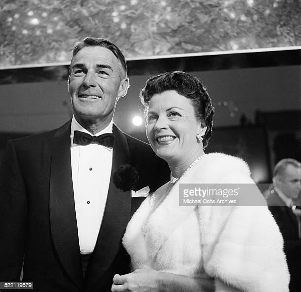 Actor Randolph Scott and wife Patricia Stillman attend the Mt Sinai Party in Los AngelesCA
