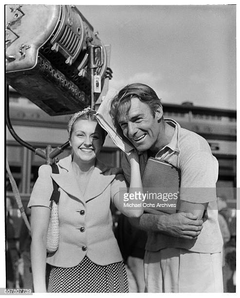 Actor Randolph Scott poses on set in Los Angeles California