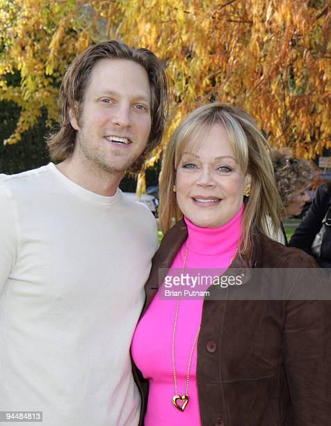 Actor Randy Spelling and honoree Candy Spelling attend the bench dedication to Candy Spelling by the Los Angeles Parks Foundation at Holmby Park on...