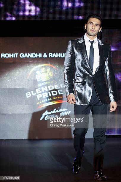 Actor Ranveer Singh walks the ramp in an Rohit Gandhi Rahul Khanna outfit at Blenders Pride Fashion Tour Mumbai Day 2 held at Taj Lands End on August...