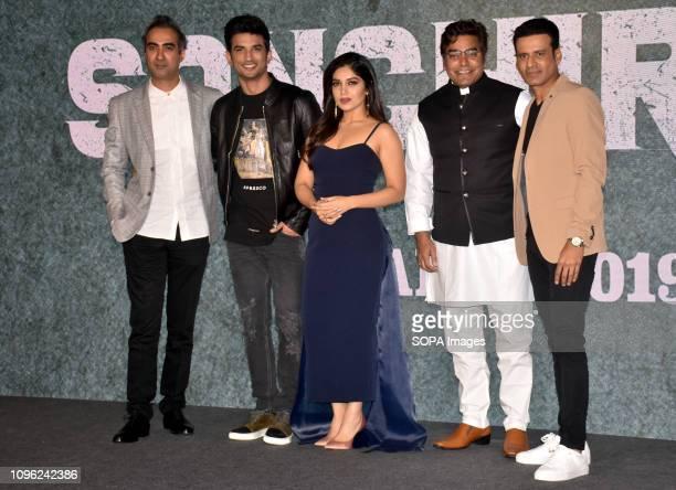 Actor Ranvir Shorey Sushant Singh Rajput Bhumi Pednekar Ashutosh Rana and Manoj Bajpayee are seen during the trailer launch of the film 'Sonchiriya'...