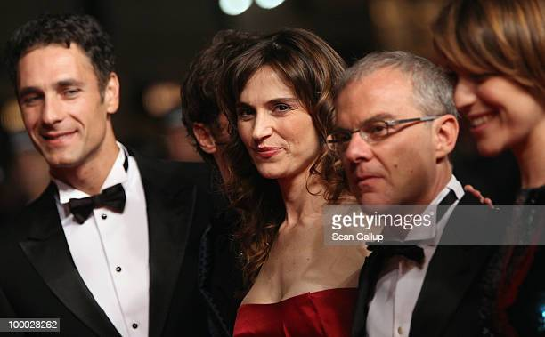 Actor Raoul Bova actress Stefania Montorsi and director Daniele Luchetti attend the 'Our Life' Premiere at the Palais des Festivals during the 63rd...