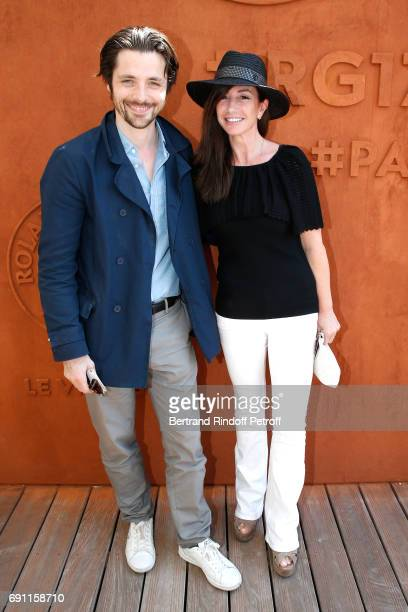 Actor Raphael Personnaz and Albane Cleret attend the 2017 French Tennis Open Day Five at Roland Garros on June 1 2017 in Paris France