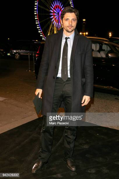 Actor Raphael Personnaz arrives to attend the 'Madame Figaro' dinner at Automobile Club de France on April 5 2018 in Paris France