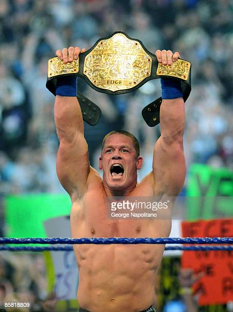 Actor, rapper and WWE superstar John Cena captures the World Heavyweight Championship at Wrestlemania 25 at Reliant Stadium on April 5, 2009.