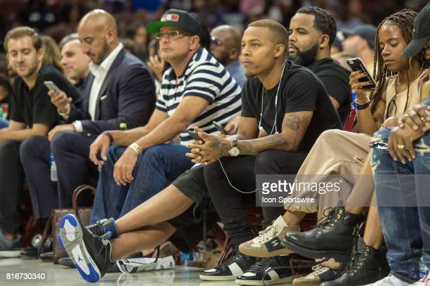 Actor / rapper Bow Wow looks on during a BIG3 Basketball league game on July 16 2017 at Wells Fargo Center in Philadelphia PA