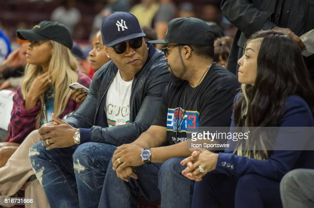 Actor / rapper LL Cool J speaks with Ice Cube during a BIG3 Basketball league game on July 16 2017 at Wells Fargo Center in Philadelphia PA