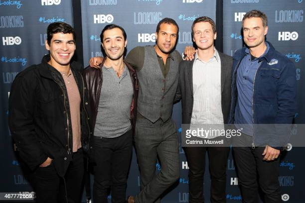 Actor Raul Castillo actor Frankie Alvarez actor OT Fagbenle actor Jonathan Groff and actor Murray Bartlett pose at the aTVfest on February 7 2014 in...