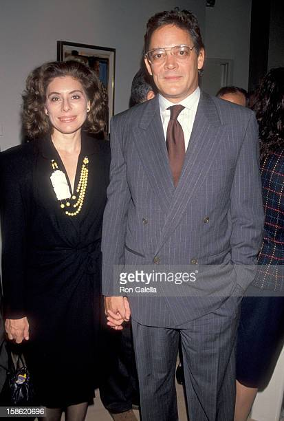Actor Raul Julia and wife Merel Poloway attend the Unveiling of Lorenzo Quinn's Sculptures and Oil Paintings Exhibition on October 11 1990 at...
