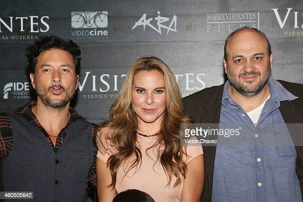 "Actor Raul Méndez, Kate del Castillo and film director Acán Coen attend a press conference to promote the film ""Visitantes"" at St Regis Hotel on..."