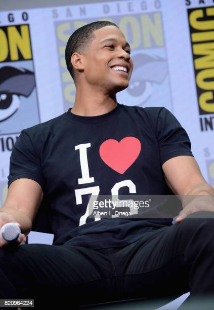 Actor Ray Fisher attends the Warner Bros Pictures 'Justice League' Presentation during ComicCon International 2017 at San Diego Convention Center on...