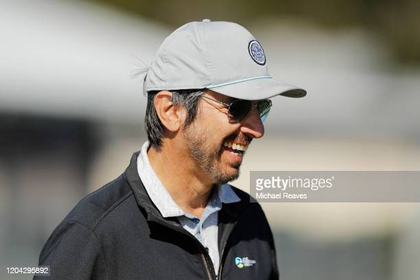 Actor Ray Romano laughs on the 17th hole during the 3M Celebrity Challenge prior to the ATT Pebble Beach ProAm at Pebble Beach Golf Links on February...