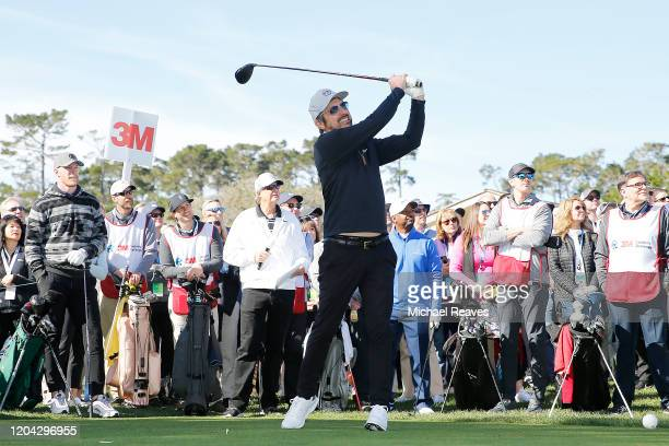 Actor Ray Romano plays his shot from the first tee during the 3M Celebrity Challenge prior to the ATT Pebble Beach ProAm at Pebble Beach Golf Links...