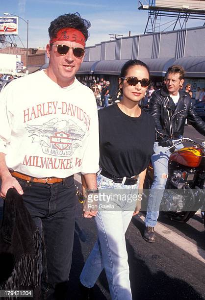 Actor Ray Sharkey and wife Carole Graham attend the Love Ride 7 Motorcycle Ride to Benefit the Musculary Dystrophy Association on November 11 1990 at...