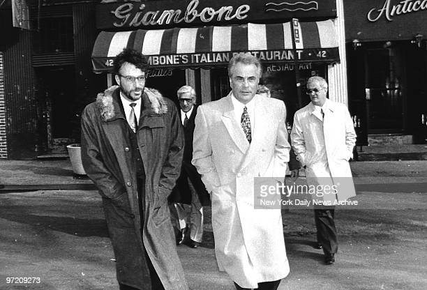 Actor Ray Sharkey leaves Giambone restaurant on Mulberry St with John Gotti who is on lunch break from his trial Gotti is charged with conspiracy and...