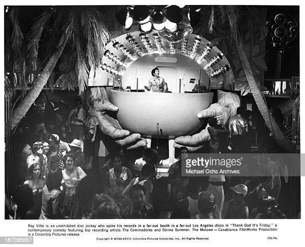 Actor Ray Vitte on the set of the Columbia Pictures movie ' Thank God It's Friday' in 1978