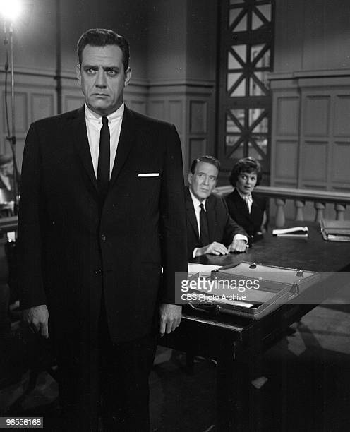 Actor Raymond Burr as Perry Mason performs in a scene from an episode of the TV series 'Perry Mason' entitled The Case of the Renegade Refugee on...