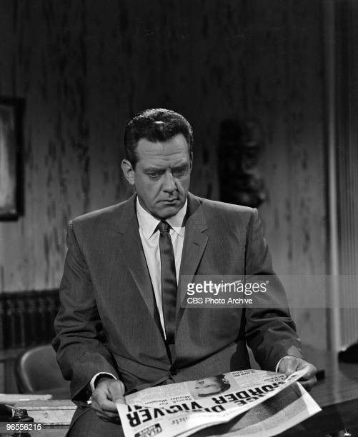 Actor Raymond Burr as Perry Mason performs in a scene from an episode of the TV series 'Perry Mason' entitled The Case of the Crying Comedian on July...