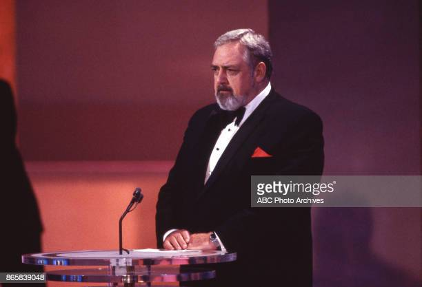 Actor Raymond Burr on stage at the 37th Annual Primetime Emmy Awards on September 22 1985 at the Pasadena Civic Auditorium in Pasadena California