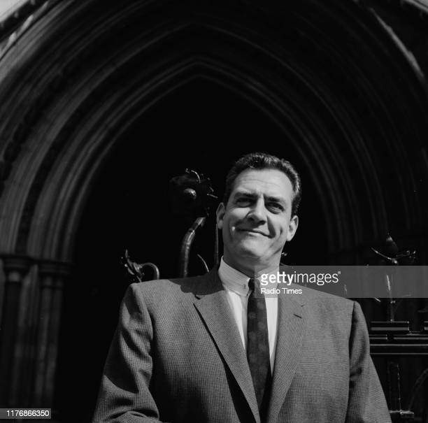 Actor Raymond Burr outside the Royal Courts of Justice during a promotional tour for his television show 'Perry Mason' London 1961